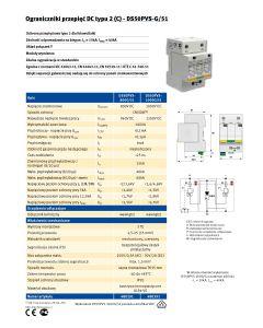 Ogranicznik przepięć Jean Mueller  Typ 2, DC DS50PVS-1000/G, 40/60kA 2p+G 70A Kod producenta: C480341 32-01-05.0097